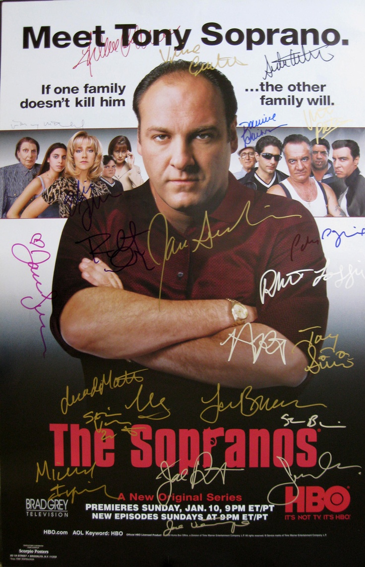 SOPRANOS original season 1 poster signed James Gandolfini, Edie Falco, Vincent Pastore, Dominic