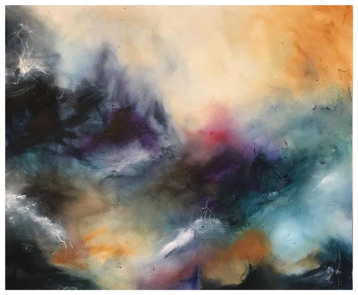 Stormy day Abstract acrylic painting.