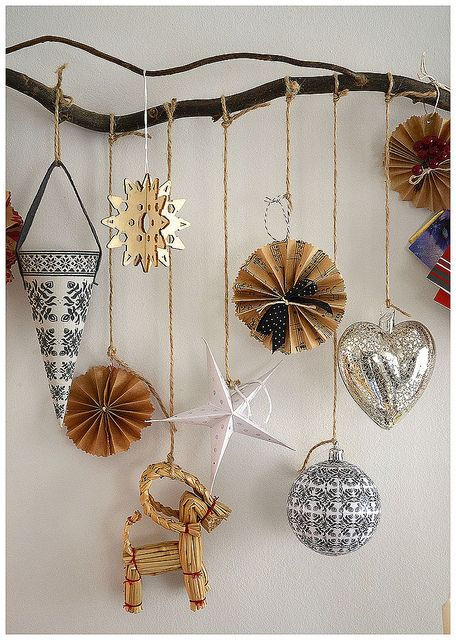 Christmas branch - great way to showcase ornaments on a wall!