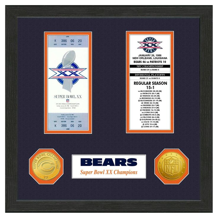 NFL Chicago Bears Highland Mint Super Bowl Ticket Collection