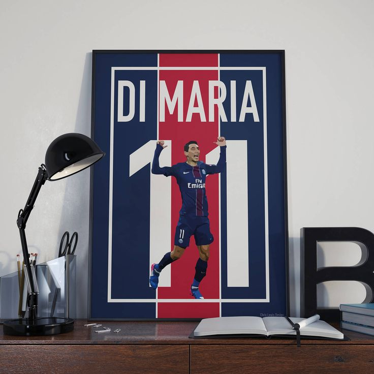 Angel Di Maria Football Poster, Paris Saint Germain, Instant Download, Wall Art, Sport Poster, Fan Art, Vector Art, Soccer by CLewisDesignStore on Etsy