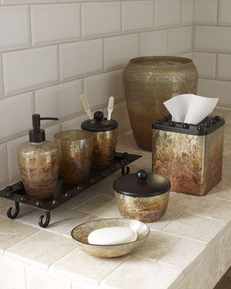 Genial Mission Vanity Accessories   Horchow Rustic Glass And Iron Bathroom Set.