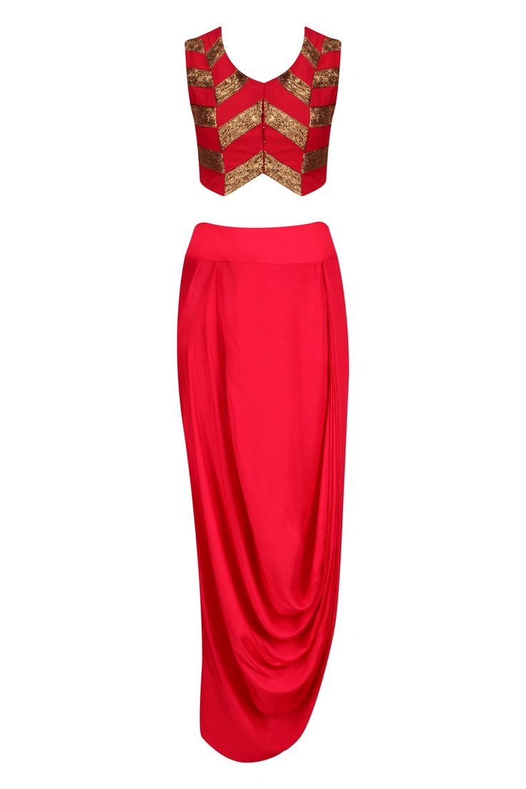 Red and gold pita work crop top and wrap skirt set available only at Pernia's Pop Up Shop.