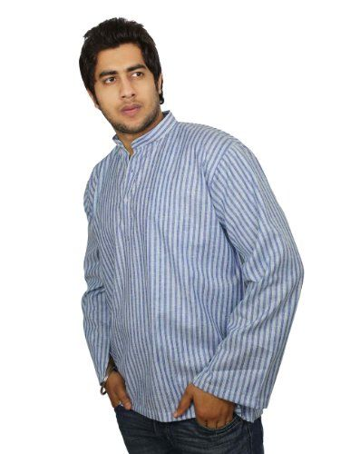 Ethnic Indian Clothing Cotton Shirt Blue Turquoise Stripped Short Kurta XXXL ShalinIndia,http://www.amazon.com/dp/B00IKC8X0O/ref=cm_sw_r_pi_dp_ZSeHtb13T2NB2H83