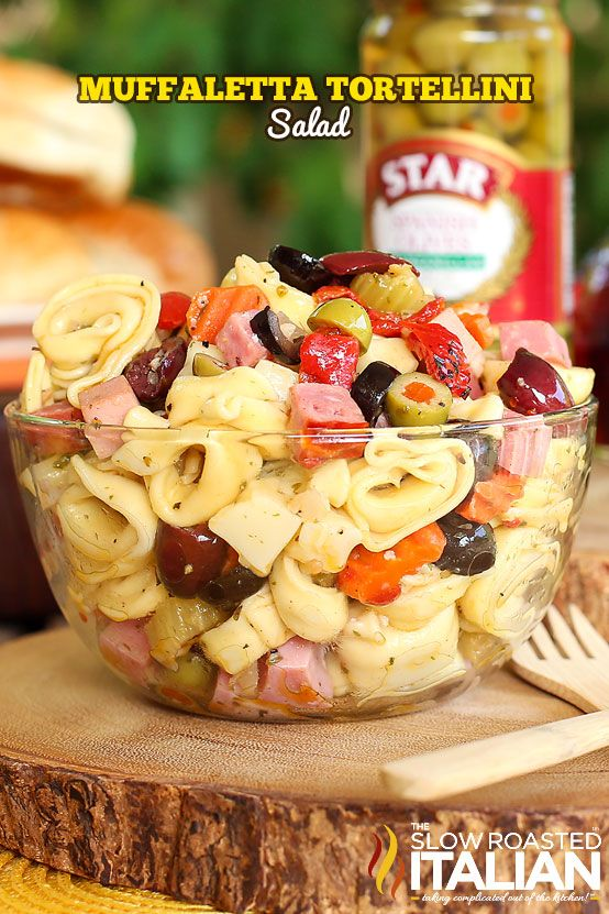 Muffaletta Tortellini Salad is all your favorite things about a pasta salad and the classic Italian flavors of the Muffaletta sandwich rolled into one amazing summer salad.  An easy recipe that you will be making all year long. #TSRISummer #Recipe #Pasta