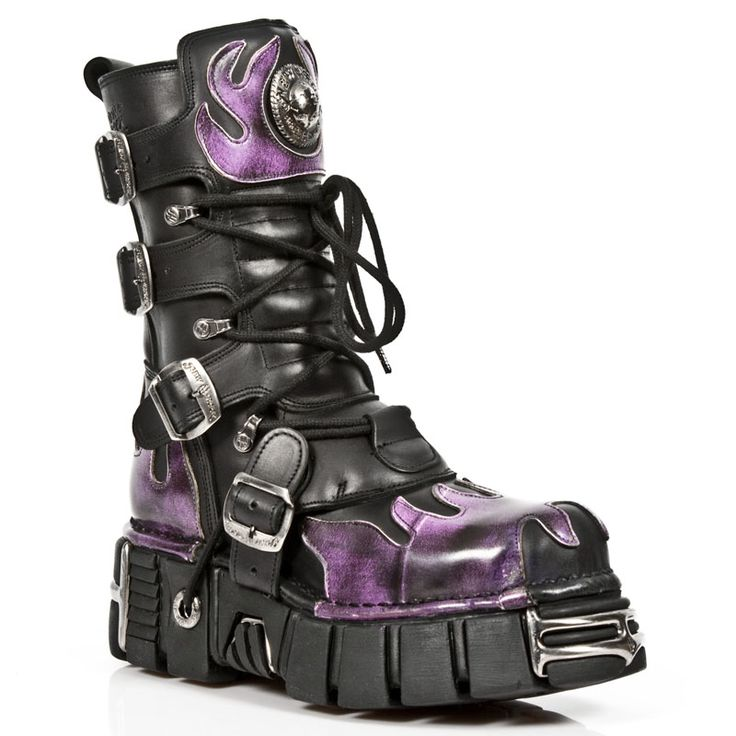 New Rock Boots Black with Purple Flames Boots - 591 Tower Boots - Click to…