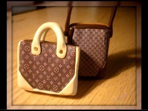 Louis Vuitton Polymer clay Bag - Tutorial borsa Louis Vuitton in Fimo - YouTube
