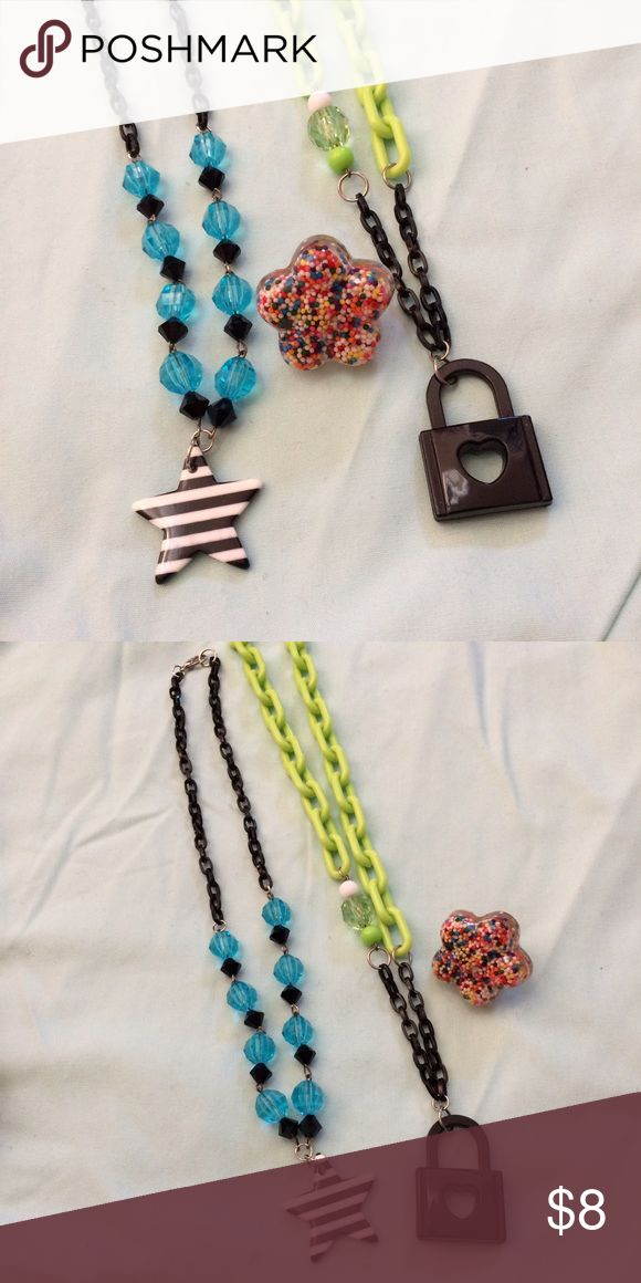 Kawaii plastic resin jewelry necklace ring lot 2 brightly colored plastic chain necklaces and a star shaped resin sprinkle ring (adjustable). Jewelry Necklaces