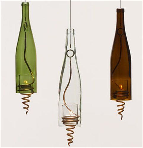 Cut the bottom out of recycled old wine bottles; add spring or bedspring to hold candle, Tea Light; hanging Lamp; upcycle, recycle, salvage, diy, repurpose!