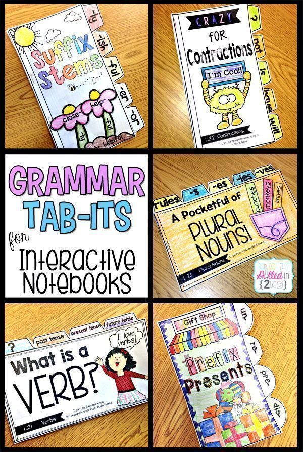Grammar Tab-Its for Interactive Notebooks. Language Arts | Literacy  Simply Skilled in Second: A Teaching Blog for 2nd & 3rd Grade Teachers #languagearts #teachingresources #literacy