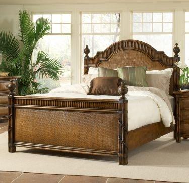 Catalina Wicker Rattan Twin Panel Bed Wicker Bedroom