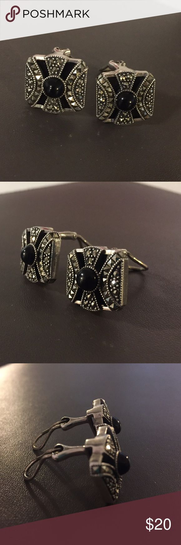 Judith Jack Clip On Earrings Judith Jack Clip On Earrings, sterling silver, in perfect condition, with genuine marcasite and onyx stones. Judith Jack Jewelry Earrings