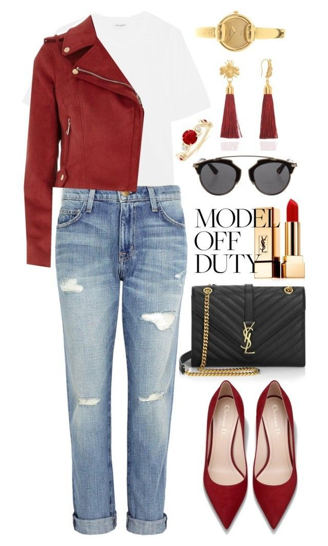 """""""Only the classics"""" by asnaate ❤ liked on Polyvore featuring Yves Saint Laurent, Current/Elliott, River Island, Christian Dior, C.J.M and Gucci"""