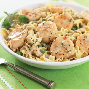 Seared scallops with creamy noodles and peas this elegant for Fish sauce kroger