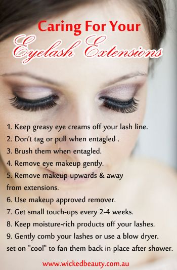 Caring for Your Eyelash Extensions. It is important to choose a salon and eyelash extension expert that knows exactly what they are doing. Here you will find all the best tips, tricks, advice and articles on finding the best eyelash extension expert for you. http://www.wickedbeauty.com.au/non-surgical-treatments/eyelash-extensions/#HairExtensions #EyeLashExtensionTechniques #EyeLashExtensionTips #EyeLashExtensionsCare #EyeLashExtensionsMaintenance