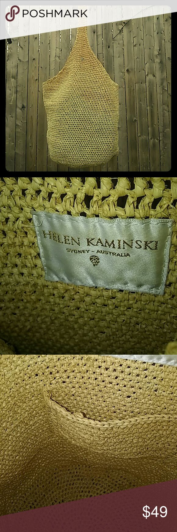Helen Kaminski classic raffia Carillo basket bag A Helen Kaminski staple! The Carillo basket bag is currently for sale on her website for $295. Listed as a 'classic sac' made with the Tiki stitch. One inside pocket. It is unlined.  Color is natural. In very good condition. There looks to be a minor repair at the top of the shoulder strap as seen in above picture. Next day shipping. Helen Kaminski Bags Totes