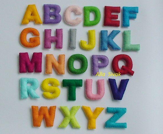 Gefüllte Filz Alphabet Filz englisches Alphabet, Filz Buchstaben bunt, Alphabet, pädagogisches Spielzeug, handgemachte Alphabet, fühlte sich der Magnet-Buchstaben