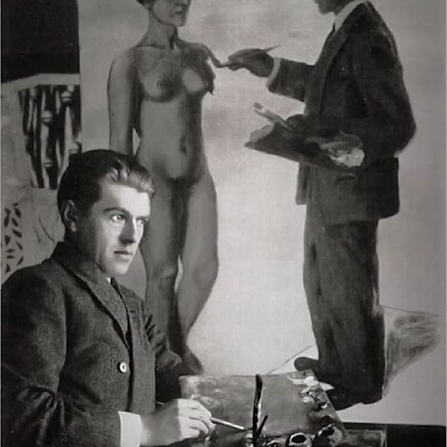 """Model, Muse & Wife.   René Magritte in his studio painting """"Attempting the Impossible"""", in which he depicts himself painting a nude woman (his wife, Georgette Berger). Soon after his mother's tragic death, committing suicide by drowning when he was 15, René Magritte met 13 year old Georgette Berger, in 1913. According to the story, they met at a local fair and fell in love, but then a twist of fate pulled them apart. It was not until 9 years later, that they would cross paths again in an…"""