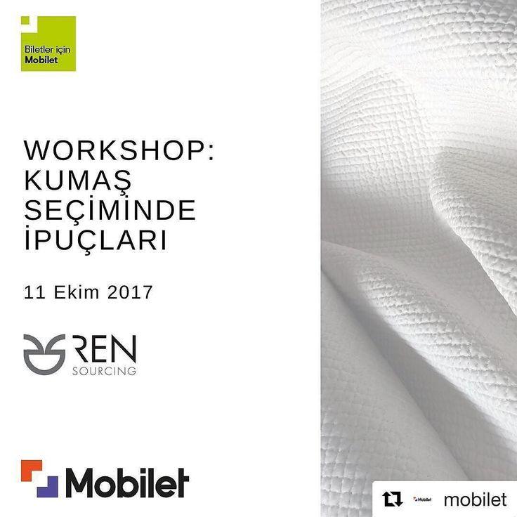 #Repost @mobilet (@get_repost)  Kumaşlara ve yeni modeller tasarlamaya meraklı olanlar bu etkinlik sizi bekliyor. Kumaş seçiminde ipuçları kumaş özellikleri Sonbahar  Kış 2019 kumaş trendleri ve daha fazlası 11 Ekim Çarşamba günü Ren Sourcingdeki workshop çalışmamızda yer alıyor. Biletler için #Mobilet #rensourcing #trend #karakoy #istanbul #workshop #kumaş #kumas #egitim #moda #model #kalıp #dikiş #dikim #kumaşseçimi #modatasarim #modatasarım #tasarım #tasarımcı #tasarimci #giyim…