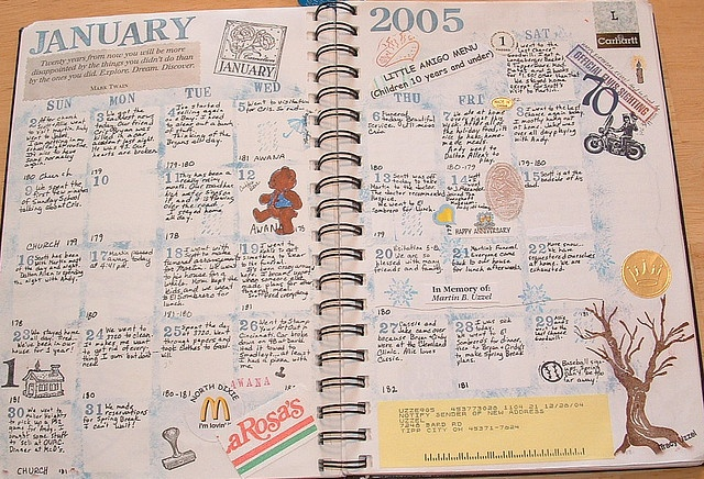 Calendar Journal - What a cool idea to save all those little papers, receipts, etc from vacations: Craft, Idea, Calendar Journaling, 2005, Calendar Journals, Art Journals, Photo, Art Journaling