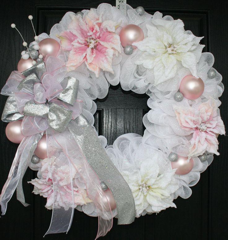 Pink and White Poinsettia Christmas Deco Mesh Wreath. .