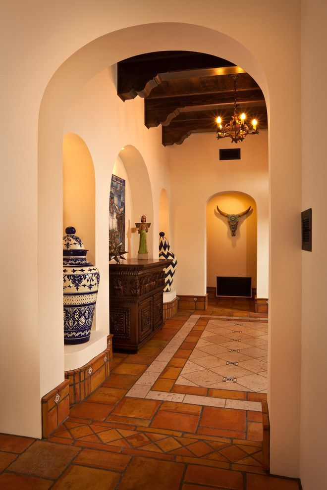 terracotta floor tile Entry Southwestern with blue and white porcelain casita exposed beams