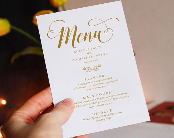 DYI Printable Rockwell Modern Wedding  Menu Thank You Card Personalized Menu by lovebirds Lane