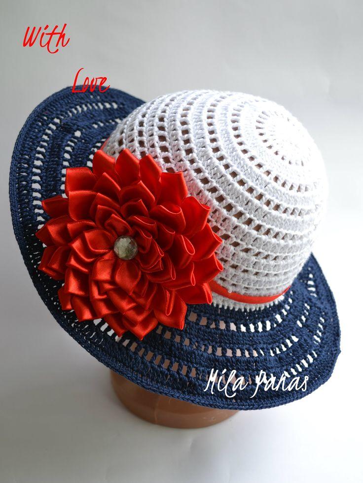 """Шикарная летняя шляпка для леди """"Морские грезы"""" Шляпка связана из хлопковых ниток высокого качества. Лёгкая,воздушная,ажурная шляпка защитит голову от палящи..."""