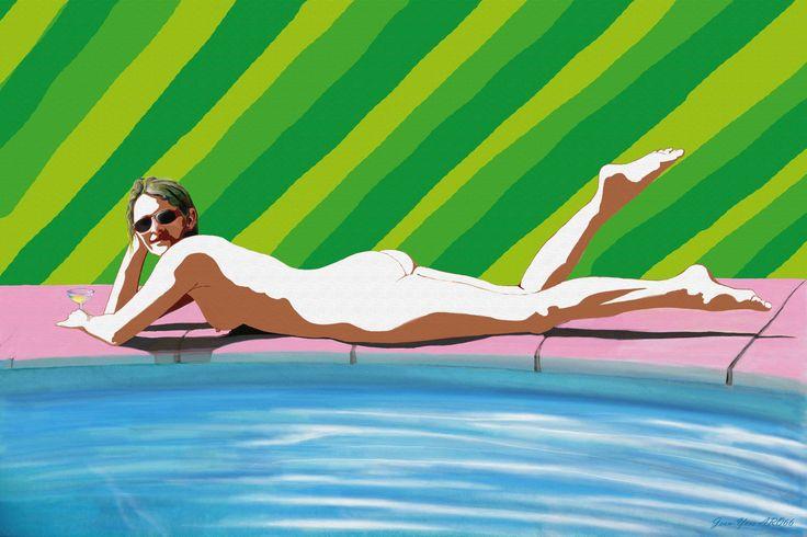 <<Au bord de la piscine>> Peinture numérique par Jean-Yves ARO66