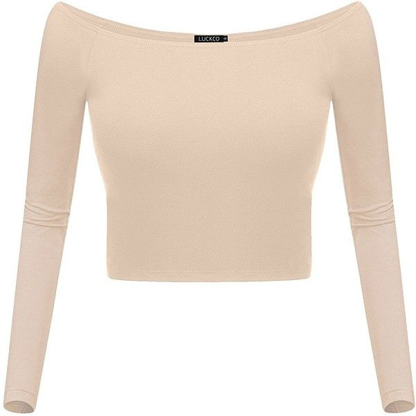 Luckco Women's Basic Long Sleeve Slim Fit Off Shoulder Cami Crop Top ($9.99) ❤ liked on Polyvore featuring tops, off-shoulder tops, slimming tops, camisole tops, long sleeve tops and beige long sleeve top