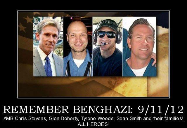 Ambassador Chris Stevens, Sean Smith, Glen Doherty, and Tyrone Woods. Remember them on 9/11.