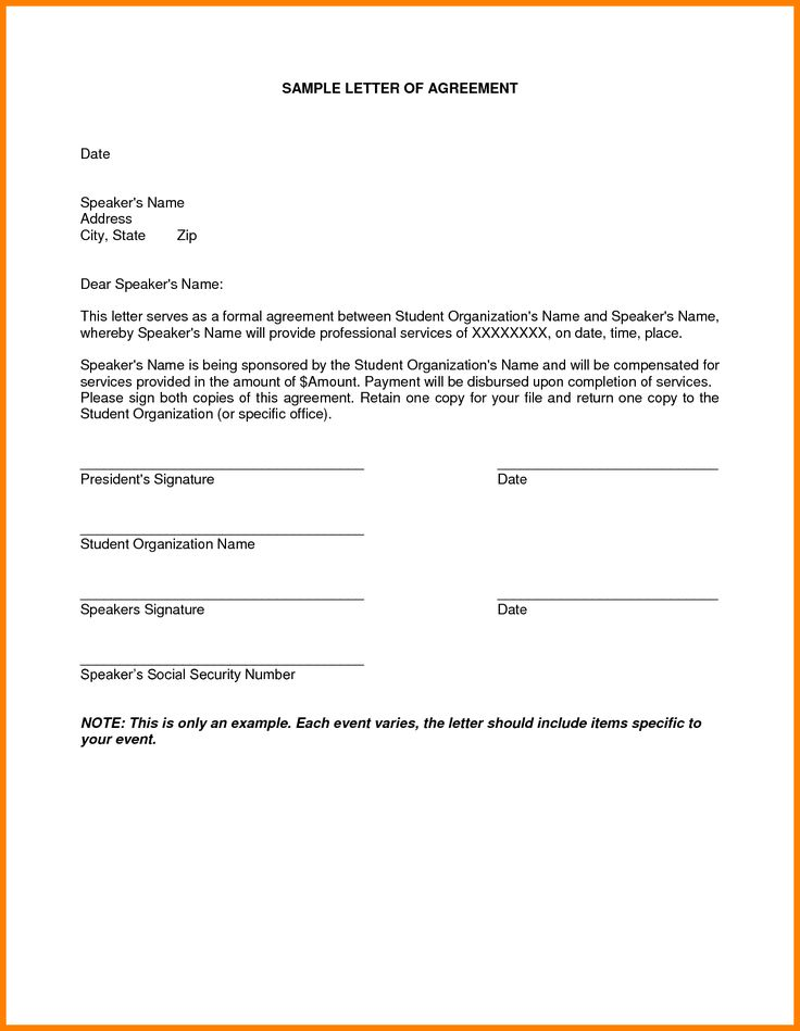 sample letter for termination just agreement payment example - sample letter of agreement