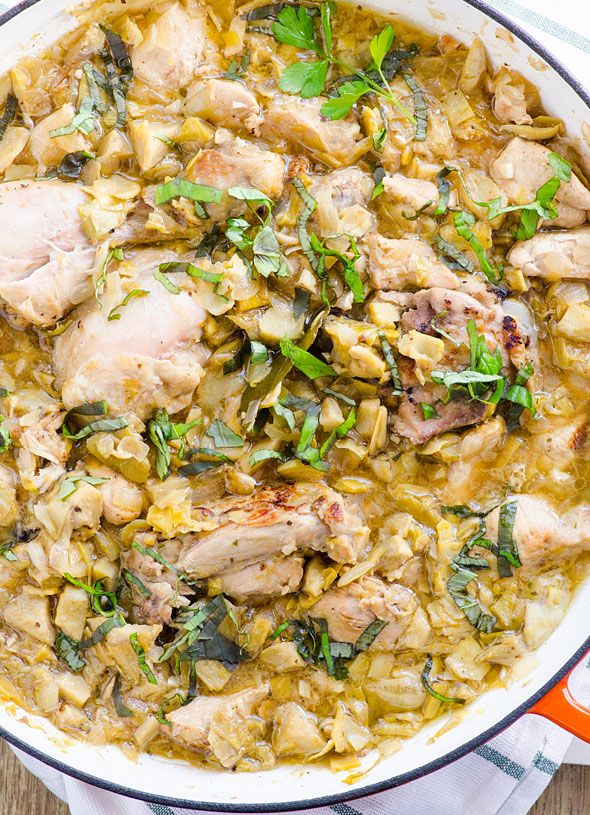 (Omit the maple syrup) One-Skillet Chicken with Artichokes and fresh herbs -- simple and full of flavor.