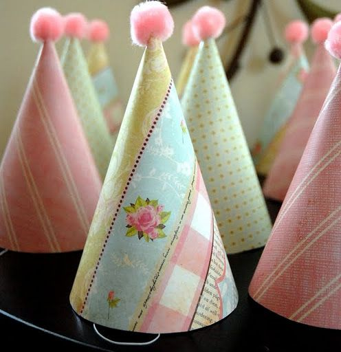 Give Dollar Store Party Hats a Makeover with patterned paper!