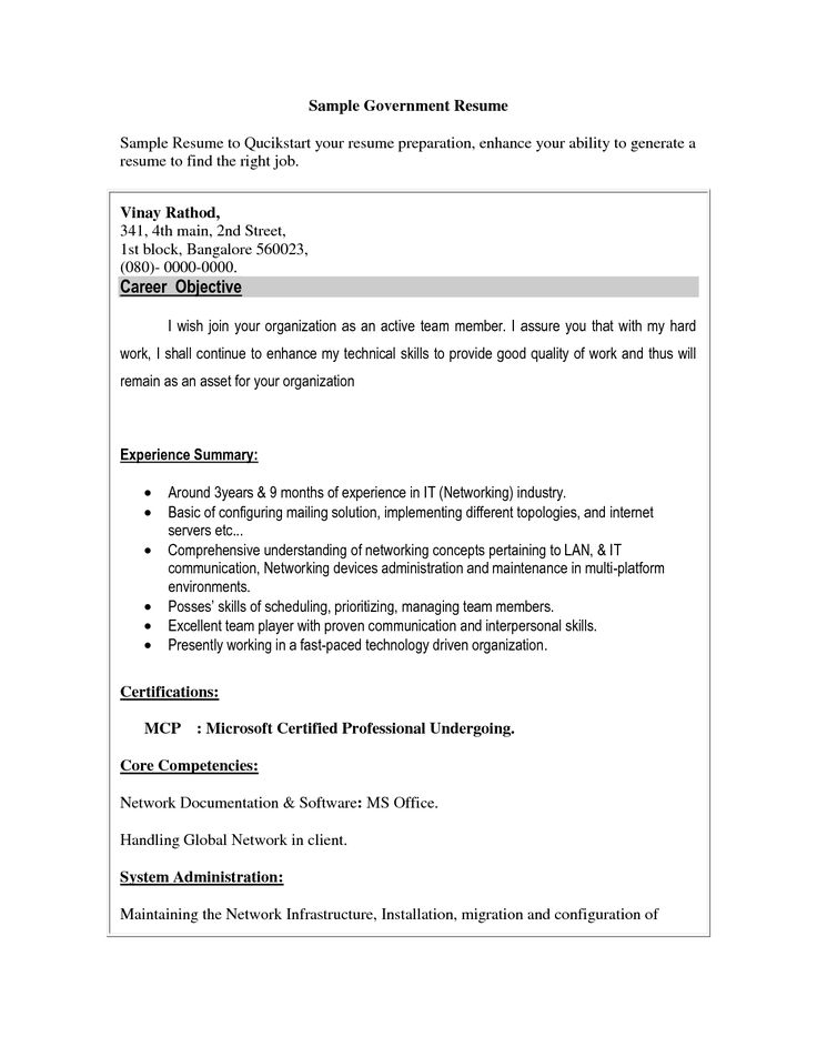Free Resume Templates For Government Jobs