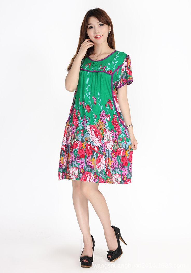 Vrouwen Nachtjapon 100% Kunstmatige Katoen Nachtkleding Zomer Korte mouwen Een stuk Jurk Lounge Sleepshirts Bloemen Patroon Lingerie