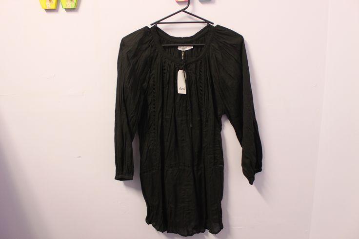 ALESSI - Black Crinkle Cotton Tunic