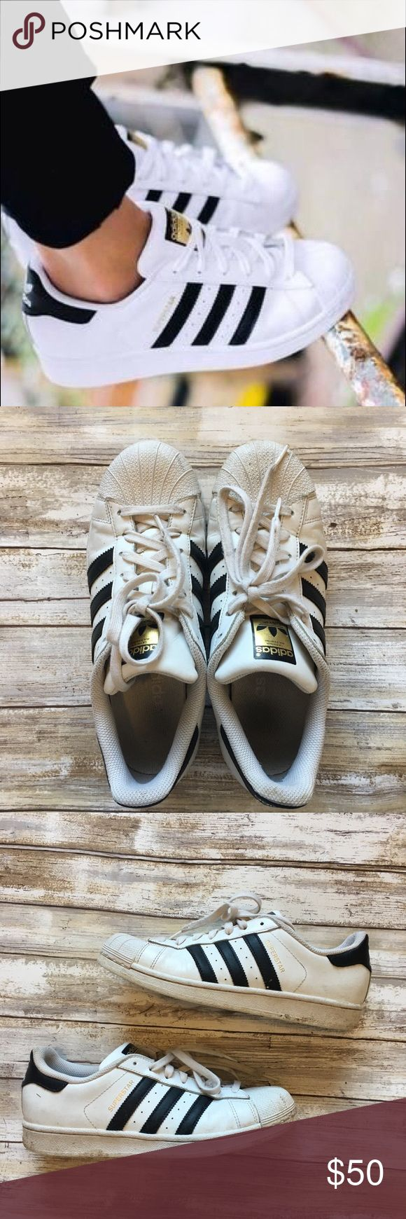 Adidas Superstar Shoes Classic sneakers from Adidas! Gently used condition- some normal wear and tear. Please refer to pics for condition. Fits a size 8 1/2. adidas Shoes Athletic Shoes