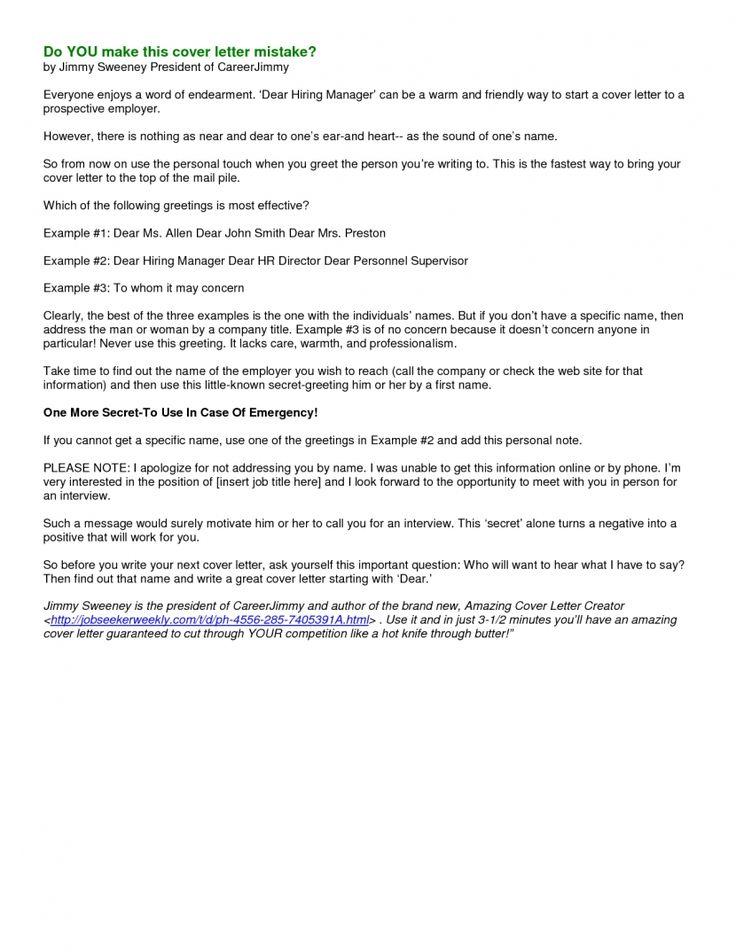 As 25 melhores ideias de Nursing cover letter no Pinterest Dicas - cover letter mistakes