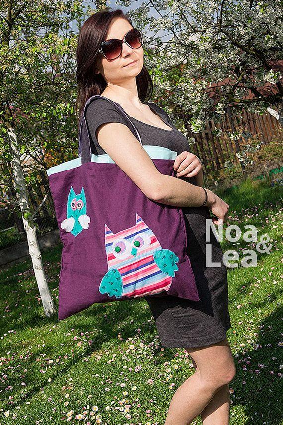 Big Tote Bag with Owls Violet Bag Cute Look Spring Bag by NoaLea