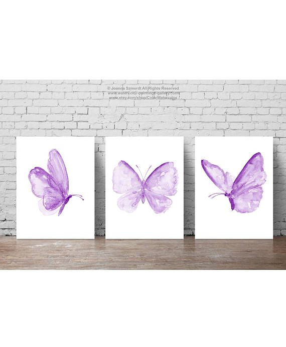 Butterfly Canvas Purple Watercolor Painting Set Of 3 Nursery Room