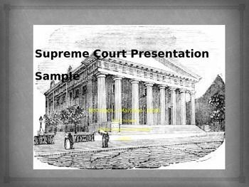 This free Power Point gives a visual for your young historians to follow in construction their own Power Point presentation on a Landmark supreme Court Case.  Designed to accompany the Supreme Court Case Story Board (also free) and the Supreme Court Case Presentation Lesson Plan, this brief 6 page slide show will help keep your students on track with the basic information to share with their classmates.Supreme Court Presentation Sample:  McCulloch v.