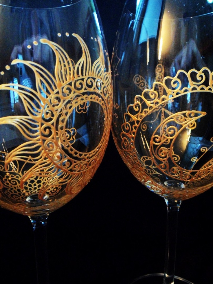 Hand Painted glassware in Henna style Sun & Moon designs CUSTOM & PERSONALIZED (option) Red wine, white wine, champagne..   Perfect wedding gift, anniversary, bridal party, favor.  Mehndi Glass via Etsy.