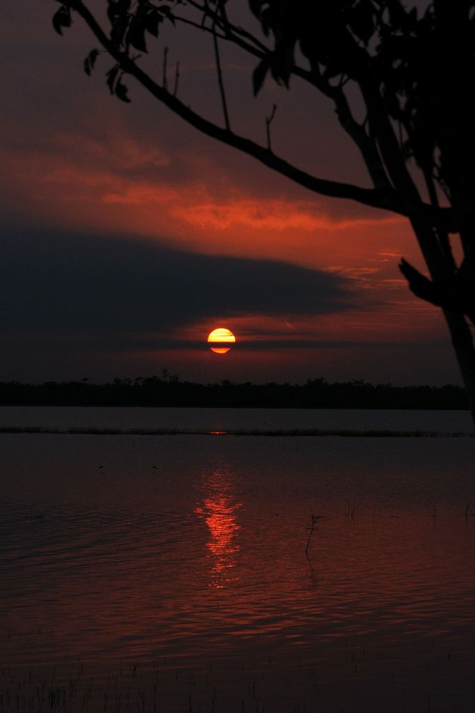 Sunrise at the Crooked Tree Wildlife Sanctuary in Belize