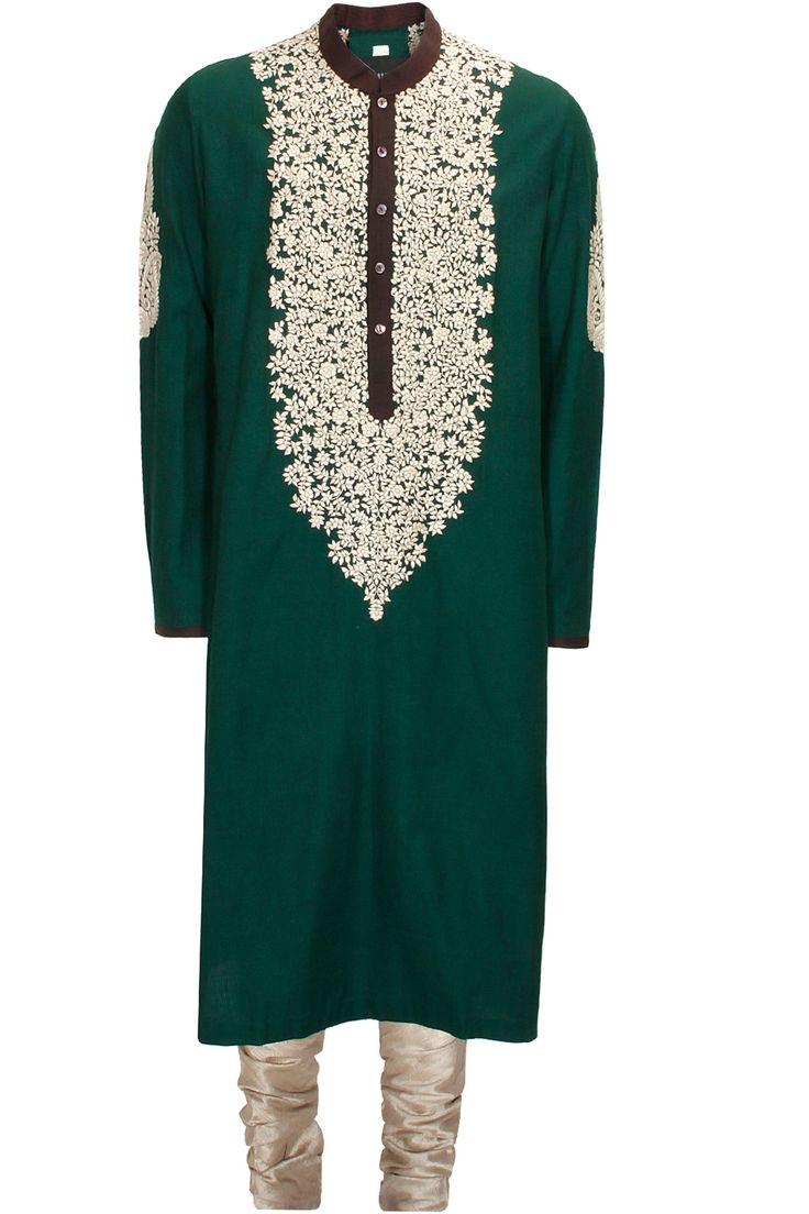Bottle green and ivory kashmiri embroidered kurta set with brocade stole available only at Pernia's Pop-Up Shop.