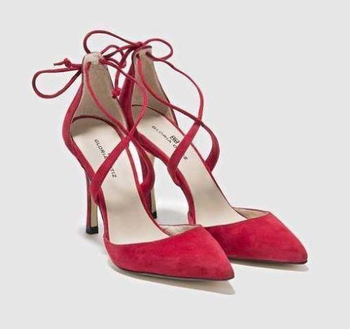 GLORIA ORTIZ Red Leather shoes high heels pumps EU 40 UK 7 US 9 stilettos bow