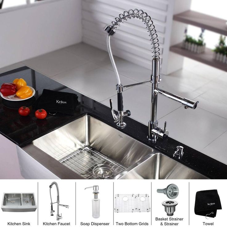 KRAUS 36 Inch Farmhouse Double Bowl Stainless Steel Kitchen Sink with Commercial Style Kitchen Faucet & Soap Dispenser in Chrome