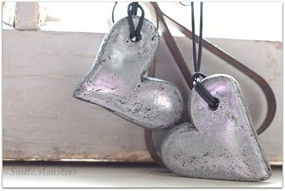 Made with flour and water and a bit of spray paint! Looks like real silver. Valentines Day craft? So many possibilities,
