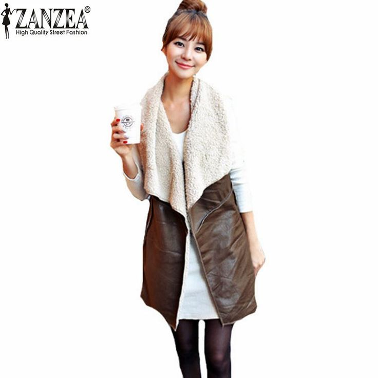 Autumn Winter  Fashion Women Leisure Warm Faux Fur Collar Long Leather Waistcoat Coat Outerwear Vest Casual Jacket