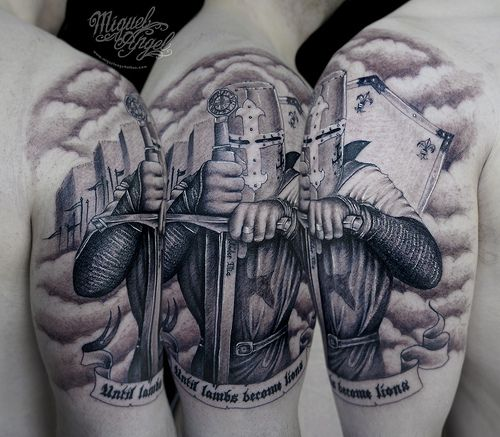 Knight Tattoo Quotes: Knight Helmet + Sword + Castle + Roses.. Fight The Good